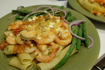 Shrimp Greek-Style with Rigatoni