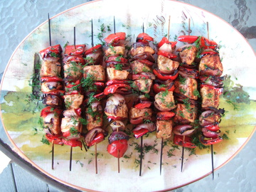 Brochettes of Salmon with Bacon